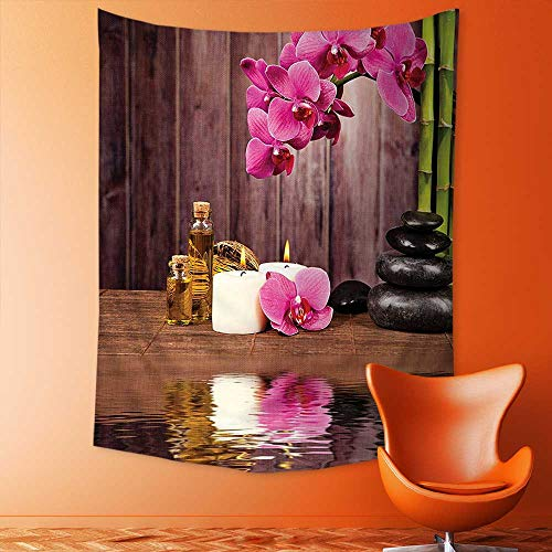 Geisha Flower Candle - aolankaili Wall Tapestries Spa Flower Water Reflection Aromatherapy Bamboo Blossom Candlelight Tapestry Table Cover Bedspread Beach Towel Lattern
