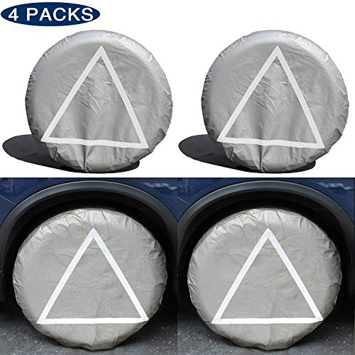 (Tire Covers for RV Wheel,Power Tiger Set of 4 Motorhome Tire Covers,Waterproof Oxford Tire Protectors Wheel Cover,Fits 26