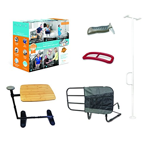 Stander 5 Piece Fall Prevention Kit - All in one Kit Includes Extendable Bed Rail, Chair Handle & Swivel Tray Table, Tension Mounted Grab Bar, Auto Grab Bar & Standing ()