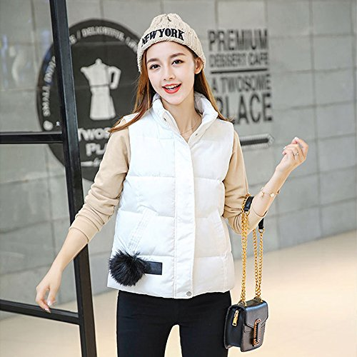 Winter Hairball Down Vest Girls Sleeveless Autumn Outwear Zipper Jacket XFentech Women Windproof Down Coat White amp; fHqxWUng