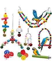 14 Pieces Bird Budgie Cage Swing Chewing Toys Upgraded,Standing Hanging Perch Hammock Climbing Ladder Parrot Cage Toys for Parakeets, Parrots,Lovebirds, Cockatiels, Conures, Finches .