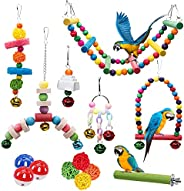 14 Pieces Bird Budgie Cage Swing Chewing Toys Upgraded,Standing Hanging Perch Hammock Climbing Ladder Parrot