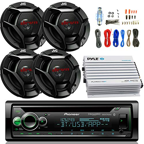 Pioneer DEH- Car CD Player Receiver Bluetooth USB AUX Radio - Bundle Combo with 4x JVC CSDR621 6.5