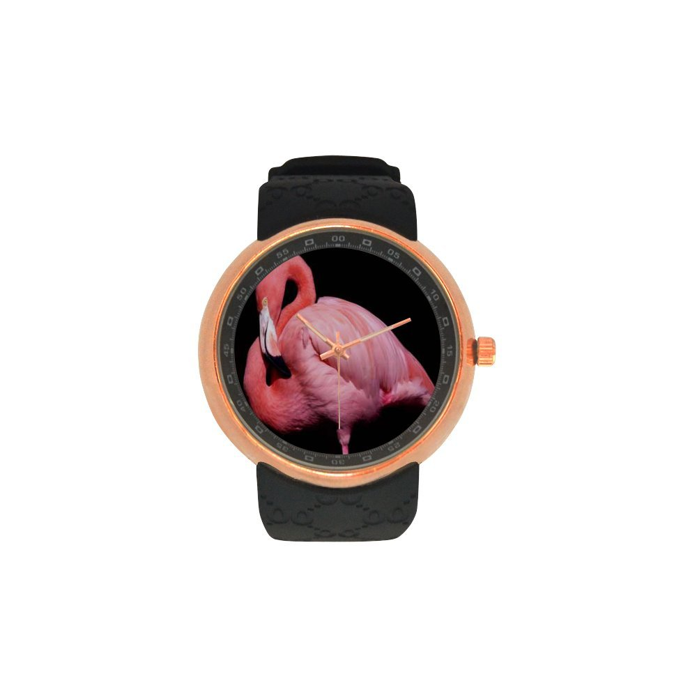 Novelty Gift Beaituful Pink Flamingos Men's Rose Gold Plated Resin Strap Watch