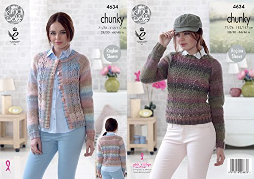 King Cole 4634 Knitting Pattern Womens Cardigan and Sweater in King Cole Cotswold Chunky by King Cole by King Cole