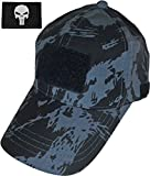 Ranger Return Tactical Military Black Ranger Army Camo Camouflage Baseball Adjustable Hat Cap with Tactical Morale Operator Skull Patch - Black (TCAP-BKRG-WPUN-BW)
