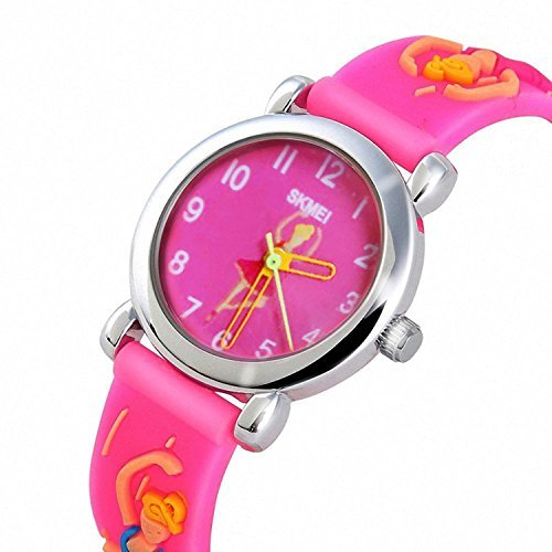 Girls Watch Kids Quartz Analog Dress with 3D Cute Cartoon Pattern Silicone Band Waterproof 30M Watch Gift with Dancing Ballet Watches - Pink