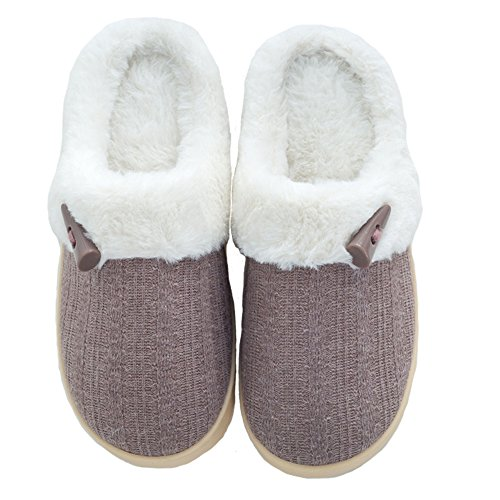 Brown Men Woolen Plush Cozy Women and Outdoor Winter Slippers Lining House Knitted Indoor Home Shoes wf6vqRI