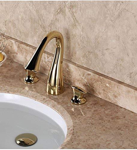 JingJingnet 流域ミキサータップ浴室のシンクの蛇口ヨーロッパの疑似古典的な3分割銅ホット&コールド盆地ゴールド蛇口 (Color : High Quality Gold) B07RJF7CM7 High Quality Gold
