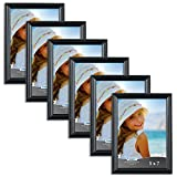 #3: Icona Bay 5 x 7 Inch Picture Frames, (6 Pack) Bulk Set, Black, Wall Mount Hangers and Table Top Easel Included, 5 by 7 Photo Frames Display Horizontally or Vertically, Inspirations Collection