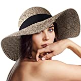 FURTALK Women Sun Straw Hat Wide Brim UPF 50+ Beach Hats for Women Summer Bucket Hat Foldable, Khaki Mixed, L (Head Circum 22.6'- 23.2')