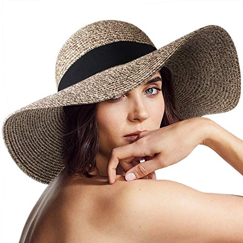 (FURTALK Women Sun Straw Hat Wide Brim UPF 50+ Beach Hats for Women Summer Bucket Hat Foldable, Khaki Mixed, M (Head Circum 22.1