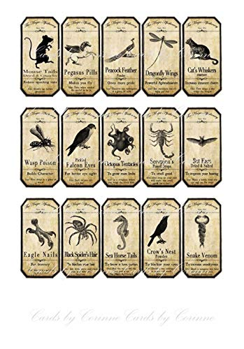 Halloween 15 animal apothecary bottle labels stickers laminated ready to use. Party -