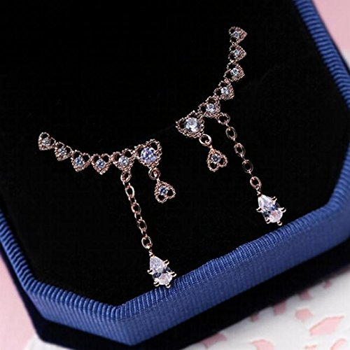 Jewelry Earrings Earring Dangler Eardrop s925 Inlay Zircon Crystal Drop Necklace Pendant Sweet (j3409 Rose Gold 925 Silver Needle