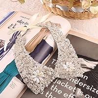 Gift For Women Sequin Detachable Silver Fake False Collar Necklace Pearl Choker