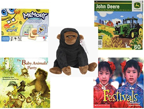 Children's Gift Bundle - Ages 3-5 [5 Piece] - Spongebob Squarepants Memory Game - John Deere Hay Harvest 60 Piece Puzzle Toy - TY Beanie Baby - Congo The Gorilla - The Baby Animals' Party Board Boo ()