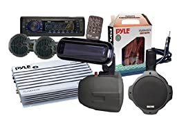 Pyle - 6 Speakers Marine AM/FM SD/USB/Radio w/Cover/Wiring/Amplifier & Antenna (Black)