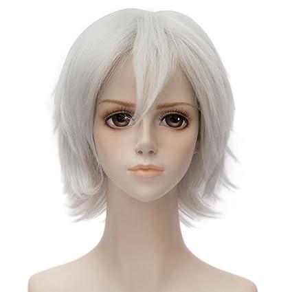 35 cm Anime Cosplay Corta Recta Plata Blanca Peluca Pelucas + libre de regalo de Halloween