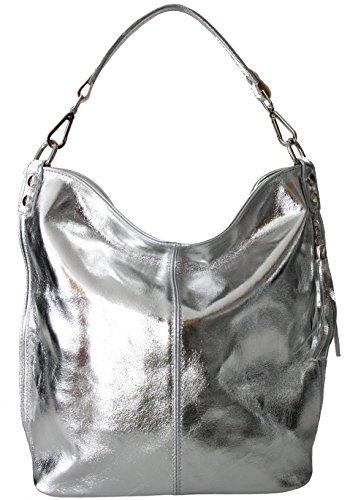 Sa Lucca echt Ledertasche Schultertasche Shopper Damentasche Handtasche SILBER