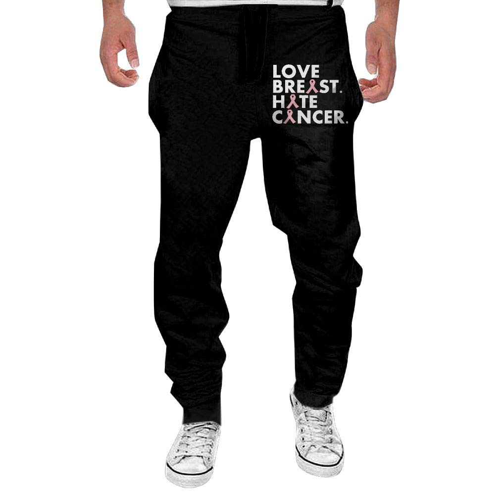 Men's Love Breast. Hate Cancer. Sport Cotton Jogger Pants,Running Beam Trousers