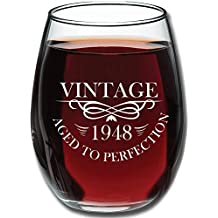 1948 70th Birthday 15oz Stemless Wine Glass for Women and Men – Unique Vintage 70th Anniversary Gifts for Him, Her, Husband or Wife – Funny Party Decorations or Supplies Present for Mom and Dad