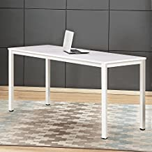 "Dland 47"" Medium Computer Desk, Composite Wood Board, Decent & Steady Home Office Desk/ Workstation/ Table, BS1-120WW White & White Legs, 1 Pack"