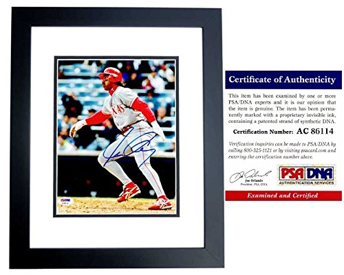 (Juan Gonzalez Autographed Signed Texas Rangers 8x10 Photo Black Custom Frame - 434 Home Runs and 2x MVP - PSA/DNA Authentic)