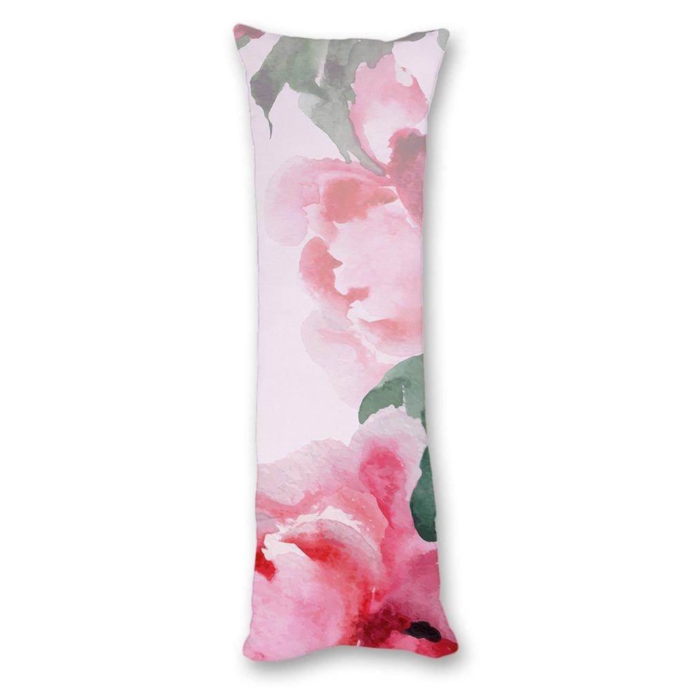 Yiuejiu Watercolor Oriental Pink Flower Body Pillow Cover Decorative Pillowcase 20x54 Inch anime002