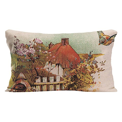 LDJ Cotton Polyester Sofa Chair Seat Rectangle Throw Pillow Case Decorative Cushion Cover Pillowcase Design With Country Cottage Custom Pillow Cover Print Double Sides Sized 12x20 Inches