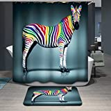 Zebra Curtains Dodou 72 X 72 Inch zebra digital printing Anti Bacterial Waterproof Polyester Shower Curtain