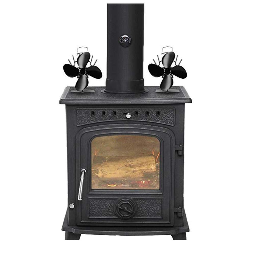 L Ventilador de Termo de Estufa de 4 Cuchillas, con Calentador de Calor, para leña/leña/Chimenea Negro: Amazon.es: Hogar