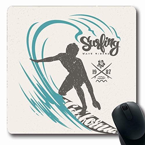 Mousepads Splash Surf Surfer Big Wave Surfboard California Sketch Vintage Retro Sea Design Riders Non-Slip Gaming Mouse Pad Rubber Oblong Mat