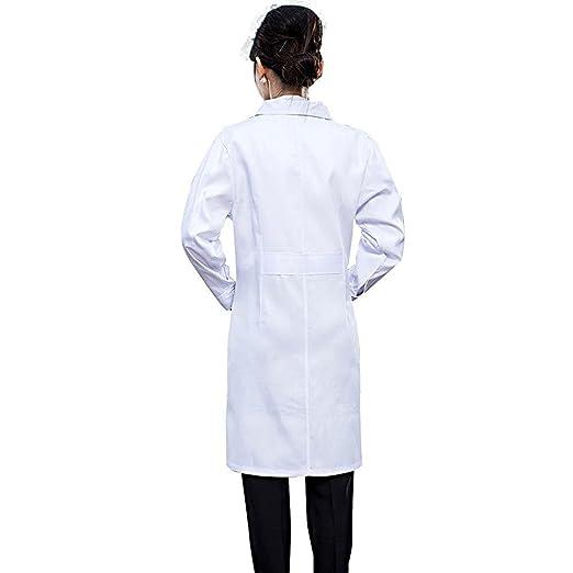 SiyaTom Bata Médico Laboratorio Enfermera Sanitaria de Trabajo Blanca de Manga Larga Unisex