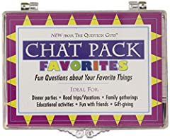 Never before has it been so much fun to start a conversation and learn more about those around you! Chat Pack Favorites contains 156 cards, each one featuring a creative question guaranteed to spark an instant conversation about one of your f...