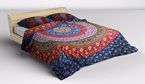 Vedant Designs Queen Size 100% Cotton Duvet Cover Sets With Pillow Covers By, Indian Reversible Duvet Cover Quilt Cover Coverlet Bohemian Doona Cover Handmade 82\
