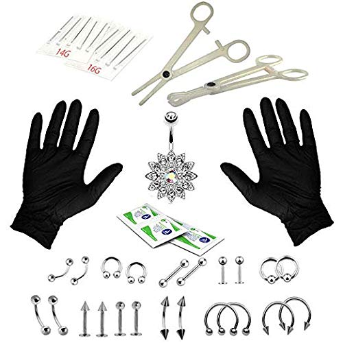 LINSHRY 41Pcs Professional Body Piercing Kit 14G 16G Ear Nose Navel Nipple Set with Unique Belly Ring