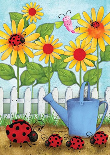 Brownrio Ladybug Parade Spring Garden Flag Daisies Seasonal