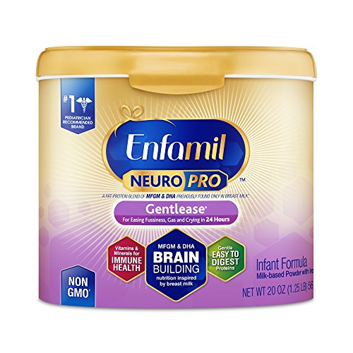 Enfamil NeuroPro Gentlease Infant Formula - Clinically Proven to reduce fussiness, gas, crying in 24 hours - Brain Building Nutrition Inspired by breast milk - Reusable Powder Tub, 20 oz by Enfamil