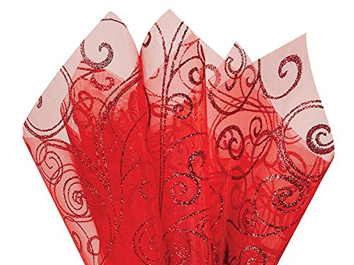 Glitter Swirl on Red Organza Sheets A1BakerySupplies Polyester Non-Woven Reusable Color Tissue Paper 20 x 26 inches - 10 Sheet Pack (Swirl with X Cut) USE for Flowers & - Sheet Organza