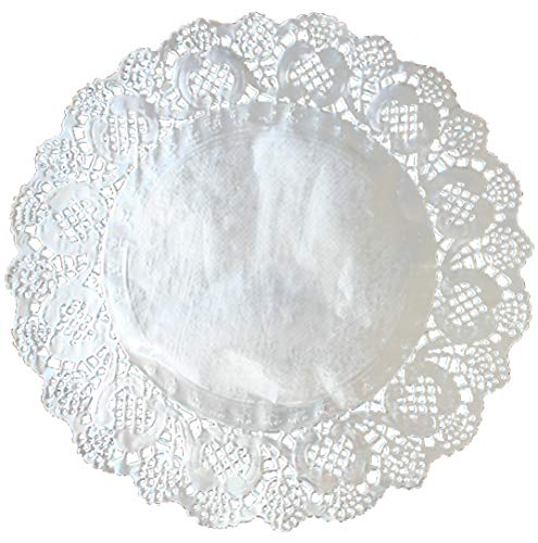 100 Pcs Silver Foil Round Lace Paper Doilies 12 Inch Placemats for Cakes, Desserts, Baked Treat Display, Ideal for Weddings, Formal Event Decoration, Tableware Decoration