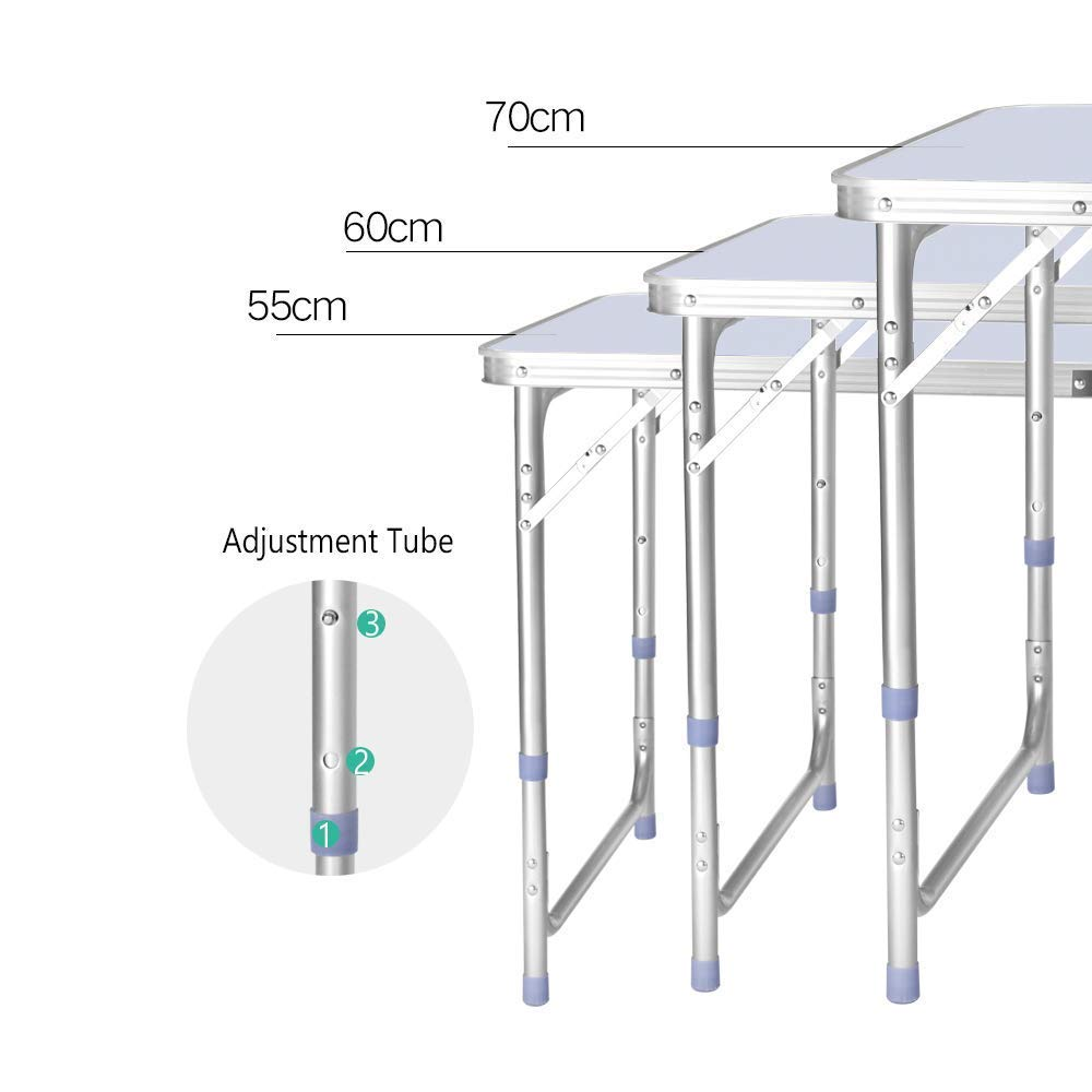 QITAO 4FT Aluminum Folding Table Portable Utility Foldable Table with Carrying Handle for Kitchen Garden Party Picnic Camping 1.2M//4Ft