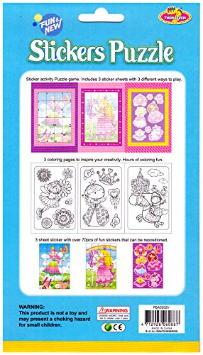 Sticker Activity Puzzle Kit Princesses Beautiful Illustrated - 3 Stickers Sheets - 3 Double-Sided Activity Board - 3 Different Way To Play - Over 70 Pcs Of Fun Stick And Coloring Sheets Creative Set -