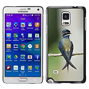 Caucho caso de Shell duro de la cubierta de accesorios de protección BY RAYDREAMMM - Samsung Galaxy Note 4 SM-N910 - Branch Blurry Nature Green