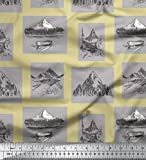 Soimoi Beige Cotton Duck Fabric Boat & Mountain Nature Fabric Prints By metre 42 Inch Wide