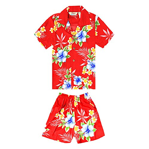 Boy Hawaiian Shirt or Cabana Set in Hibiscus Red