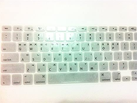 Korean//English Keyboard Cover HQF Notebook SiliconeKorean Keyboard Skin Protection Laptop Layout for All Apple MacBook Air Pro 13 15 17 Green