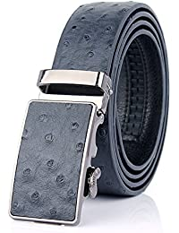 Sumcoa Men's Ostrich Skin Embossed Pattern Automatic Buckle Genuine Cow Leather Belts Ratchet Belt 35mm Wide 5...