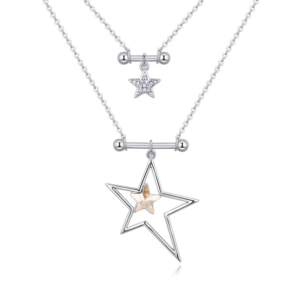 Sharefashion Glittering Starlight Elegant Dream Boutique Crystal Necklace (Crystal Golden Shadow)