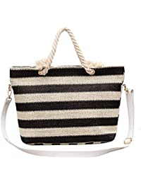 Women's straw beach bag 2 color weave single shoulder Zipper Rope Handles Pocket