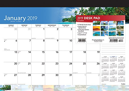 Paradise 2019 17 x 12 Inch Monthly Desk Pad Calendar, Scenic Travel Nature Tropical